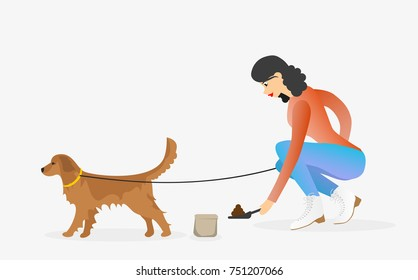 Woman cleaning after golden retriever dog. Girl with a pet. Female character walking a dog on leash.