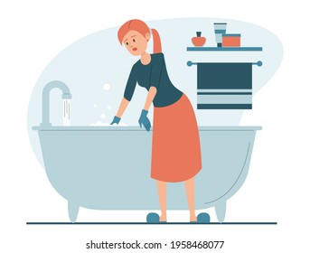 Woman cleaning bathtub vector isolated. Everyday domestic routine, housewife in gloves, washing bath using sponge. House chores.