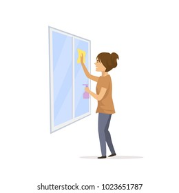 woman cleaning washing the window glass  with spray and sponge isolated vector cartoon illustration