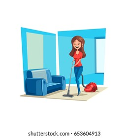 Woman cleans room floor with vacuum cleaner. Vector poster of housewife cleaning flat carpet or sofa and smiling or singing. Young or adult woman in daily home work or cleaning service concept