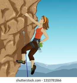 Woman climber a mountain. Vector illustration