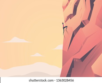 Woman climbing cliff rock face on mountain in sunset vector concept. Symbol of girl power, strength, motivation, ambition, overcome challenge. Extreme sport, active lifestyle. Eps10 illustration.
