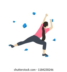 Woman climbs on a climbing wall in a climbing gym isolated on a white background. Vector illustration.
