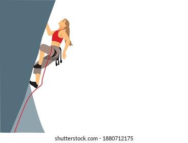Woman climbs on a climbing wall vector flat illustration