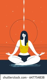 Woman with closed eyes does yoga exercise and meditates against abstract orange background. Concept of zen, serenity and meditation. Vector illustration for website, banner, poster, print, postcard.