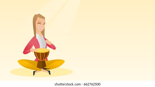 Woman with closed eyes playing the ethnic drum. Caucasian mucisian playing the ethnic drum. Young mucisian playing ethnic music on the tom-tom. Vector flat design illustration. Horizontal layout.