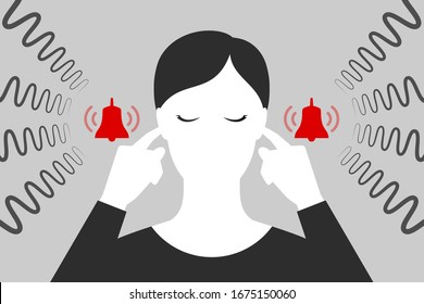 Woman with closed eyes is plugging her ears with fingers when suffering from tinnitus. Red bells as symbol of unbearable ringing in ears. Concept of diseases of hearing organs or neurology problems