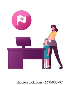 Woman Closing Daughter Eyes Protecting from Online Content. Censored Internet Information, Parenting Control. Little Girl Stand at Desk with Computer. Cartoon People Characters Vector Illustration