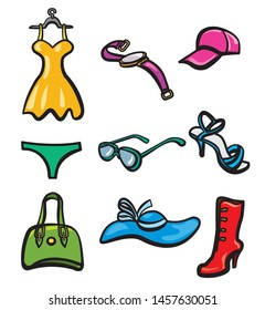woman clothes and accessories icons set
