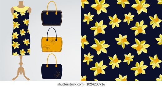 Woman clothes modern stylish boutique, shop. Vector illustration. Seamless daffodil floral pattern with its example on the dress mannequin mock up. Midi cocktail dresses with various bags