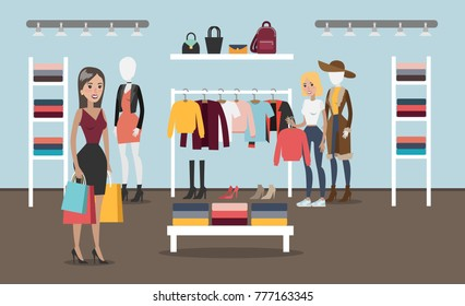 Woman at clothing store buying new products.