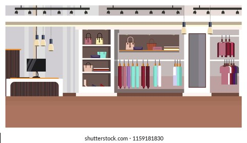 Woman clothing store interior with checkout counter, bags on shelves and clothes on hangers vector illustration. Woman boutique. Shopping concept. For websites, wallpapers, posters or banners.