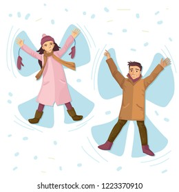 The woman in a coat with mittens and in a cap, the man in a coat, snow and snow angels in the winter. Games and walks on vacation or a holiday.