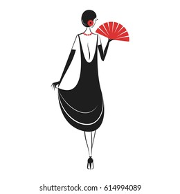 Woman in cocktail dress with a fan in vintage style 1920's. Retro fashion vector illustration isolated on white background. Back view.