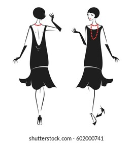 Woman in cocktail dress in vintage style 1920's. Retro fashion vector illustration isolated on white background.