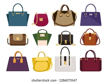 Woman color bags Designer Ladies Handbag collection of fashionable female  accessories of different types isolated icons fac546ffc5ca5