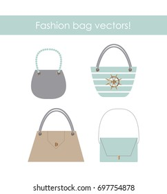 Woman colorful fashion bags set. Smooth colorful accessories. Isolated on white background. This design can be used in advertising, brochures, sales.