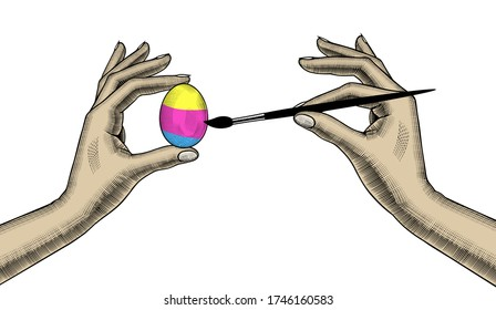 A woman coloring an egg for Easter. Vintage engraving stylized drawing. Vector illustration