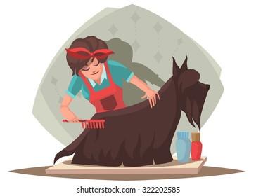 Woman combing dog. Dog Grooming.Vector illustration
