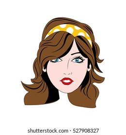 Woman comic face icon vector illustration graphic design