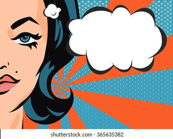 Woman with comic speech bubble. Vector banner in pop art style.