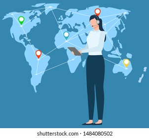Woman communicating with partners, map with location sings pointers connection. International business support, assistant secretary with tablet. Vector illustration in flat cartoon style