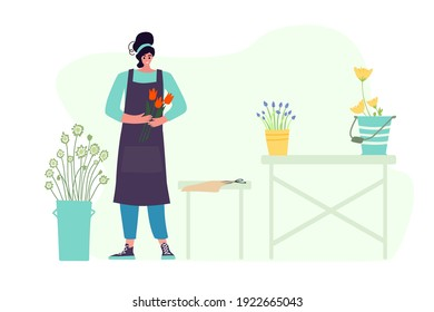 Woman compose bouquet on table. Forist shop or store.  Floristry handicraft on white. Flat vector cartoon isolated illustration