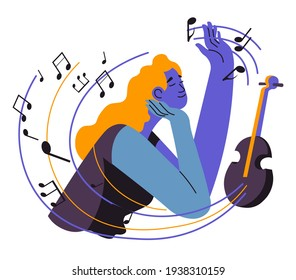 Woman composing melodies and playing songs on violin. Female character with talent for music and creative arts. Inspiration of artist. Notes surrounding lady with instrument. Vector in flat style