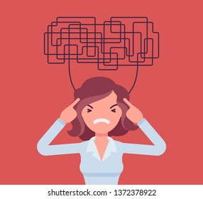 Woman with confused thoughts unable to think clearly for decision. Complicated and chaotic ideas in disorder, manager perplexed with many difficult tasks, head full of problems. Vector illustration