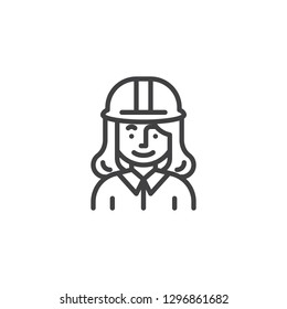 Woman construction worker character line icon. linear style sign for mobile concept and web design. Engineer woman with hard hat outline vector icon. Symbol, logo illustration. Pixel perfect