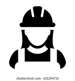 Woman Construction Worker Icon - Vector Person Profile Avatar With Hard hat Helmet and Jacket Glyph Pictogram Symbol illustration