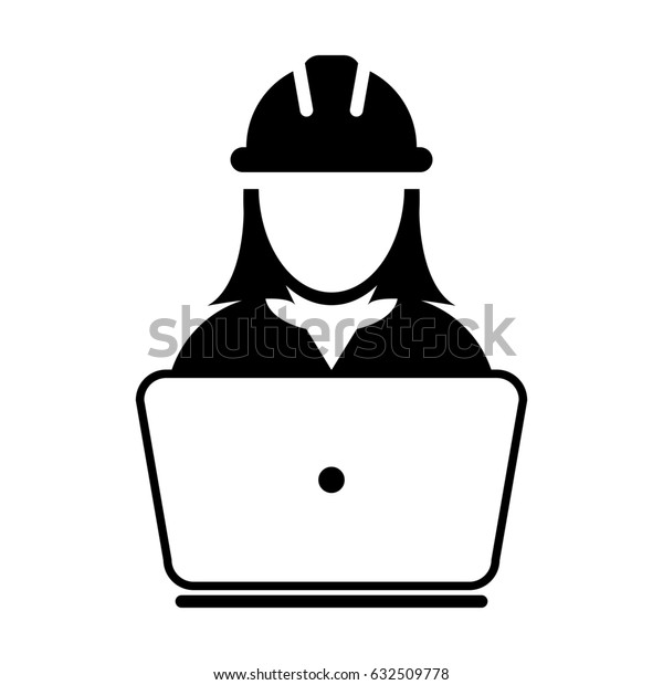 Woman Construction Worker Icon - Vector Person Profile Avatar With Laptop Computer and Hardhat Helmet Glyph Pictogram Symbol illustration