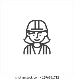 Woman construction worker line icon. linear style sign for mobile concept and web design. Woman wearing hard hat outline vector icon. Symbol, logo illustration. Pixel perfect vector graphics