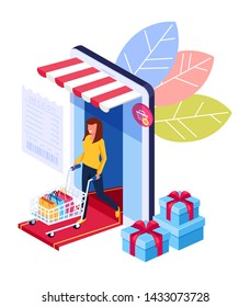 Woman consumer character holing shopping bags. Online internet shopping trading isometry concept. Vector flat cartoon graphic design illustration