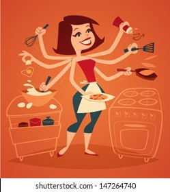 Woman cooking breakfast. Household series vector illustration.