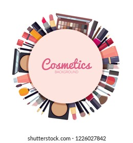 Woman cosmetic background. Makeup beauty accessories in circle shape design bronzer liquid lipstick nail polish mascara makeup pencil eyelashes powder brushes foundation vector big cartoon collection