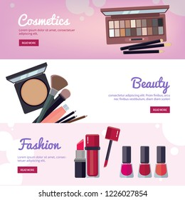 Woman cosmetic banners. Makeup beauty accessories illustration web design bronzer liquid lipstick nail polish mascara makeup pencil eyelashes powder brushe foundation vector template place for text