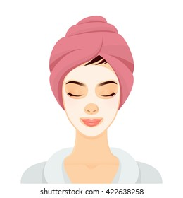 Woman with a cosmetic face mask. Smiling girl portrait. Vector illustration.