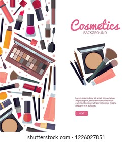 Woman cosmetic magazine cover. Brochure template Makeup beauty accessories bronzer liquid lipstick nail polish mascara makeup pencil eyelashes powder brushes foundation vector