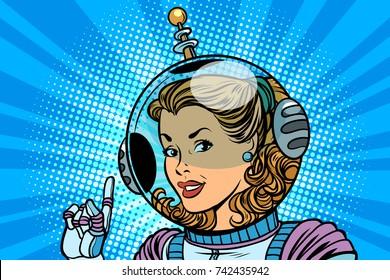 Woman cosmonaut finger indicates