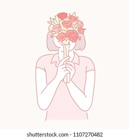 A woman covered with a bouquet. hand drawn style vector doodle design illustrations.
