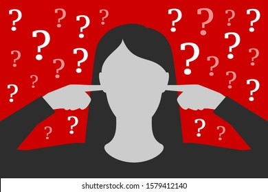 Woman is covering ears with hands, not wanting to listen questions and resolve problems, being tired and overworked, having stress, over depressive red background. Concept of ignoring of problems