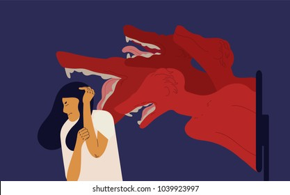 Woman covering head with hands with fear and terrible monsters coming out of computer screen. Concept of cyberbullying or cyberharassment, harmful behavior on internet. Colorful vector illustration.