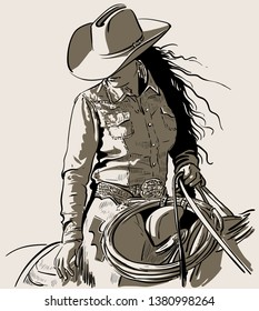 Woman with a cowboy hat. Cowboy girl riding horse with lasso. Hand drawn vector illustration. Illustration.