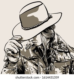 Woman with a cowboy hat. Hand drawn vector illustration. Illustration.