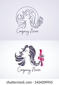 Woman with creative coiffure. Logo set for beauty salon, hairdresser or hair care products. Black and white