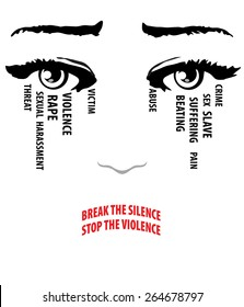 Woman cries, eyes with tears. Break the silence, stop the violence words form her lips. Stop violence against women concept. Vector EPS 10