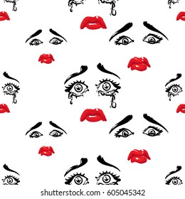 Woman cry and sad vector emoticons, emoji, smiley icons, characters. Fashion illustrated women's emotional faces seamless pattern.