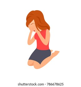 Woman Crying Sitting on the Ground and Holding Hands on Face. Cartoon Style Vector Illustration
