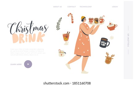 Woman with Cups Landing Page Template. Happy Female Character Carry Tray with Hot Drink for Enjoying Christmas Holidays. Wintertime Season Spare Time, Winter Vacation. Linear Vector Illustration